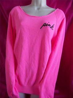 Victorias Secret Pink Candy Pink Off Shoulder Crew Neck Sweatshirt