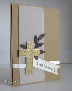 Stampin' Up! ... handmade confirmation card from stampin with beemybear ... gold paper ... cross embossed in gold on a vellum column ... luv the elegant  and mod look ...