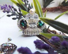 Elegant Blue Soutache Brooch  Hand Embroidered Soutache
