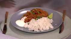 Aubergine and chicken curry with coconut rice