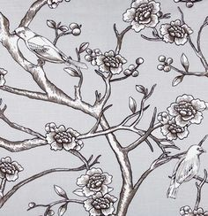 """""""Vintage Blossom, Dove""""  Introducing Dwell Studio and their Eclectic Modern collection in beautiful 100% cotton prints.  The colors in this gorgeous, large scale print is a dove gray and white & black contrast lines"""