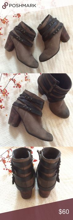 """🆕LISTING {BP} 'Train' Wrap Belted Bootie The snappy 'Train' bootie is wrapped with pushpin-studded belts for a casual look that spans the seasons. Grab the stacked-heel style and go, girl, go. 2 3/4"""" heel. 4"""" boot shaft. Side zip closure. Leather upper/synthetic lining and sole.  In excellent used condition, no scuffs or flaws of note. BP Shoes Ankle Boots & Booties"""