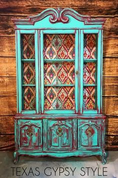 Bohemian sideboard with shelf storage. Painted buffet with hutch. Dining Room Living Room Home OfficeVintage Art Deco China Cabinet Hutch. Bohemian sideboard with shelf storage. Painted buffet with hutch. Turquoise Furniture, Bohemian Furniture, Western Furniture, Rustic Furniture, Furniture Ideas, Furniture Design, Furniture Styles, Repurposed Furniture, Antique Furniture