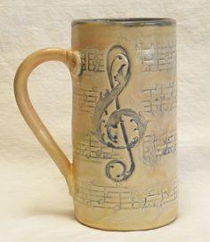 Stoneware music script 20oz coffee mug handmade ceramic 20D042