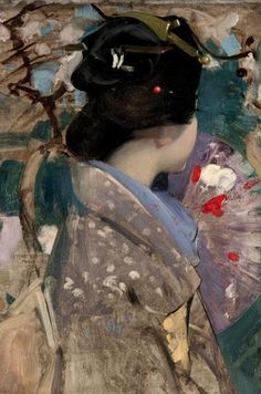 George Henry [English-born American Painter, Japanese Lady with a Fan, 1894 oil on canvas Kelvingrove Art Gallery and Museum (Scotland) by fanmmm George Henry, Blog Art, Paintings I Love, Western Art, Henri Matisse, Figure Painting, Chinese Art, Asian Art, Japanese Art