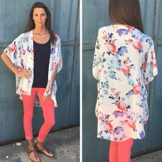 NEW! Ivory Floral Kimono Top - $32 shipped We have Medium and Large left!  Limited sizes left in our coral Jeggings (sizes 1, 3, 5, and 11)   Comment to order or shop online!