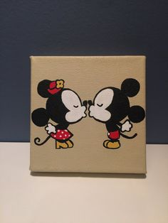 Minnie and Mickey Mouse canvas.  -Hand painted with acrylic paint (background color shown is unbleached titanium.  -Canvas size is 4 x 4.