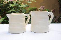 French vintage pitcher - cream earthenware - GIEN France - water pot - Jar - Jug - vase