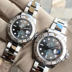 His and hers matching Rolex Yacht-Master. 37mm 40mm - - - - #rolex #patek #luxury #millionaire #billionaire #sexy #love #watches #fashion #style #lifestyle #boss #success #business #motivation #money #luxurylife #inspiredaily #hardwork #yachtmater #fitness #beauty #yacht #investment #entrepreneur #pureclass #baronandleeds #baselworld2016 #rolexwrist #rolexero