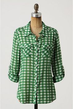 Anthropologie cissus button-up Gingham blouse by sanctuary size xS oversize fit