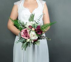 Bridesmaids bouquet Boho wedding burgundy blush white small greenery ferns artificial silk flowers realistic