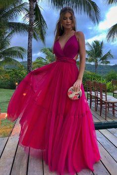 V Neck Prom Dresses, Gala Dresses, Party Dresses For Women, Dress Outfits, Formal Dresses, Wedding Dresses, Quinceanera Guest Dresses, Elegantes Outfit, Pink Dress