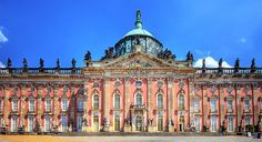 New Palace (Potsdam) (Neues Palais) is a palace situated on the western side of the Sanssouci royal park in Potsdam, Germany. The building was begun in 1763, after the end of the Seven Years' War, under Frederick the Great and was completed in 1769. It is considered to be the last great Prussian baroque palace.