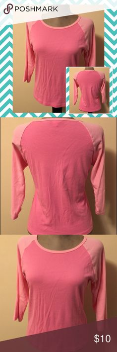 Pink Raglan Medium Moda International 3/4 Sleeve Only tried on. In excellent condition! Darker pink on main shirt and light pink on 3/4 sleeves. Breast cancer awareness colors. Moda International Tops Tees - Long Sleeve