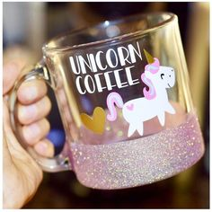 Unicorn Coffee Glitter Mug Glass Glitter Mug Funny Unicorn Mug Unicorn... ($22) ❤ liked on Polyvore featuring home, kitchen & dining, drinkware, drink & barware, gold, home & living, mugs, unicorn coffee mug, white coffee cups and monogram coffee mugs