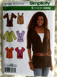 Simplicity Womens KnitTops Sewing Pattern 3790 Size 6 by Vntgfindz