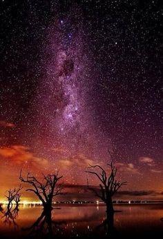 Milky Way over Lake Bonney, Australia. South Australia.