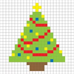 Crochet Christmas Tree Pixel Square - Repeat Crafter Me Christmas Charts, Crochet Christmas Trees, Holiday Crochet, Christmas Knitting, Christmas Cross, Xmas, Cross Stitch Cards, Cross Stitching, Cross Stitch Embroidery