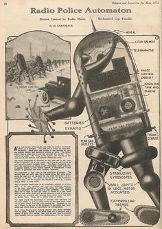 1920s #Robocop!  #Radio Police Automaton. #Science And Invention, May 1924 #geek #cops
