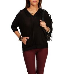 Black Hooded Light Sweatshirt