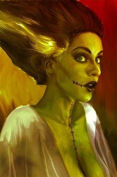 "Universal Classic Monsters Art : ""Bride Of Frankenstein"" by Mark Spears aka @ deviantart Beetlejuice, Horror Art, Horror Movies, Horror Film, Hybrid Moments, Frankenstein's Monster, Monster Mash, Halloween Art, Halloween Makeup"