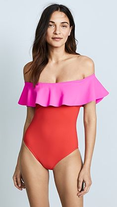 off the shoulder red and pink one piece bathing suit with ruffles