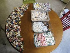 mosaic table from broken dishes