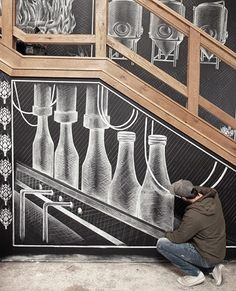 I was commisioned to create a mural for the new Sierra Nevada brewery in Asheville, North Carolina.It was created over 3 weeks and showed the process of beer making.The size of the mural was 1600 sq ft and created using only Sharpie China Markers with t… Sierra Nevada, Asheville, Brewery Design, Funny Paintings, Chalk Wall, Beer Art, Brew Pub, Mural Wall Art, Tap Room