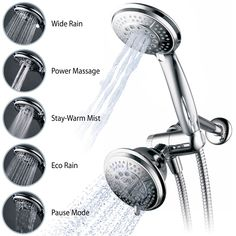 Hydroluxe Full-Chrome 24 Function Ultra-Luxury 3-way 2 in 1 Shower-Head /Handheld-Shower Combo - - Amazon.com