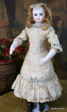 """Early 17"""" Bru French Fashion Poupee with Gorgeous tendon-jointed Bisque Arms"""