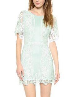 Mint Lace Backless Dress - Fashion Clothing, Latest Street Fashion At Abaday.com