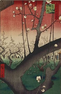 Ukiyo-e Japanese Woodblock Prints -- 'The Plum Garden in Kameido' by Andō Hiroshige Photo: Utagawa; Hiroshige (I) , Utagawa died Uoya Eikichi Hiroshige Vincent Van Gogh, Plum Garden, Art Asiatique, Art Japonais, Japanese Painting, Japanese Prints, Japan Art, Woodblock Print, Oeuvre D'art