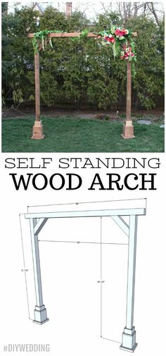 Make it a DIY wedding with a self standing wood arch. A tutorial to create a wood arch perfect for a wedding ceremony area, special event and more. Small Garden Arbour, Garden Gazebo, Building A Pergola, Diy Pergola, Pergola Ideas, Pergola Roof, Pergola Kits, Wood Wedding Arches, Modern Gazebo