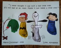 Peanuts Christmas Handprint and Footprint craft. Snoopy, Charlie Brown, Lucy