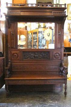 Victorian Walnut Hall Bench