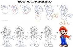 How To Draw Mario Step by Step Drawing Tutorial with Pictures Disney Drawings, Cartoon Drawings, Easy Drawings, You Draw, Learn To Draw, How To Draw Hands, How To Draw Mario, Directed Drawing, How To Draw Steps