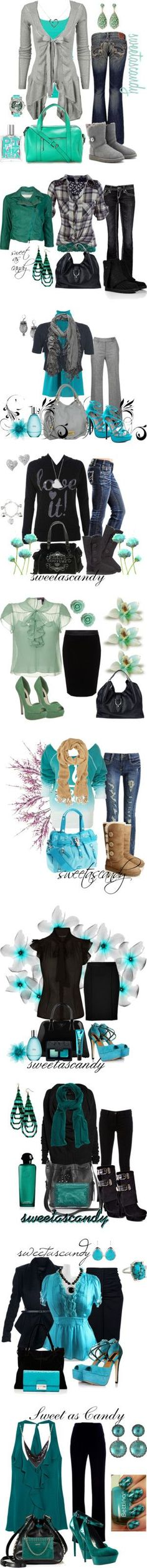 """turquoise, gray and black"" by sweetlikecandycane on Polyvore"