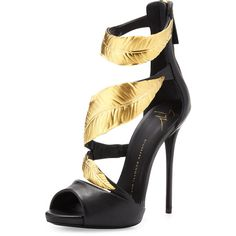 Women's Strappy Sandal with Gold Leaves - Giuseppe Zanotti found on Polyvore