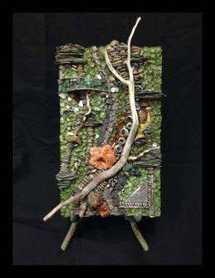 "My ""pocket art series"" Green- driftwood, metal, pebbles, pyrite, glass, tile"