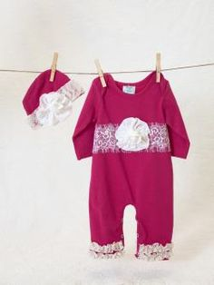 Peaches 'n Cream Infant Fuchsia Lace Trim Onesie W/ Hat Fall 2015