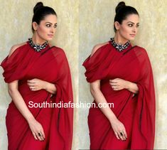 Anita Hassanandani aka Shagun Arora's latest trendy saree blouse designs from Ye Hai Mohabbatein. Saree Jacket Designs, Saree Blouse Neck Designs, Fancy Blouse Designs, Lehenga Designs, Shagun Blouse Designs, Dress Designs, Trendy Sarees, Stylish Sarees, Indian Fashion Dresses