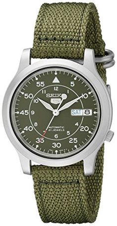 Seiko Men's SNK805 Seiko 5 Automatic Stainless Steel Watch with Green Canvas Strap Seiko