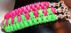 """""""Triple Neon Delight""""- A nice neon tripling of individual bracelets made with Superduo & Silver Plated Round Beads with a Lobster Clasp. Can be made with any colors and sold individually or in bulk."""