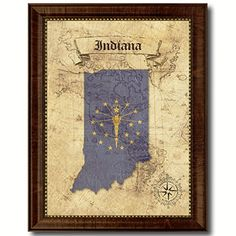 Indiana State Vintage Flag Canvas Print with Custom Picture Frame Antique Map Handcrafted Artisan Primitive Plaque Home Decor Office Interior Wall Art Gifts * Be sure to check out this awesome product. (This is an affiliate link and I receive a commission for the sales)