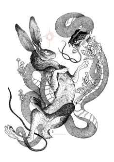 Cool Art Drawings, Animal Drawings, Ink Illustrations, Illustration Art, Hand Tattoos, Snake Art, Snake Drawing, Creepy Tattoos, Rabbit Tattoos