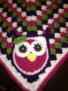 Crochet  Baby Blanket Pattern - Granny Square Crib Blanket with Owl for Baby. $4.90, via Etsy.