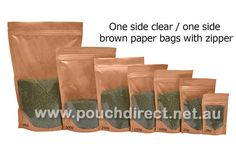 Clear On One Side / Brown Paper On Other Side - Stand Up Pouch With Zipper | Transparent Paper Bags