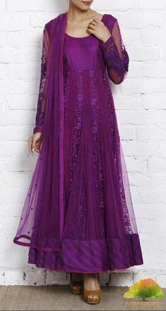 Purple Net Anarkali Suit with Resham Work by Osaa at Indianroots.com