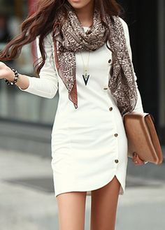 Laconic Round Neck Long Sleeve White Mini Dress