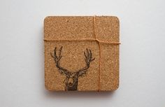 Deer Hand Printed Rounded Corner Square Cork Coasters